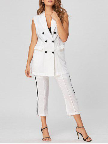 Sale Double Breasted Waistcoat with  Capri Pants WHITE M