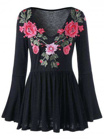 Sale Embroidered Bell Sleeve Peplum Blouse