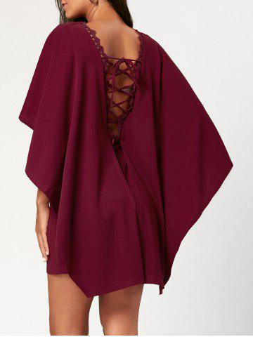 Store Criss Cross Cutout Backless Short Cape Dress