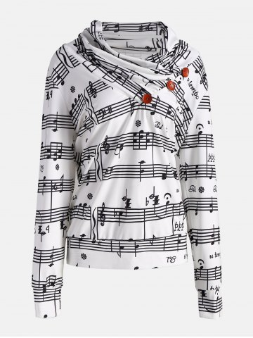 Outfit Cowl Neck Musical Notes Print Sweatshirt - 2XL WHITE AND BLACK Mobile