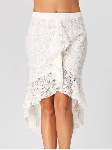 Flounce High Low Lace Skirt Blanc XL
