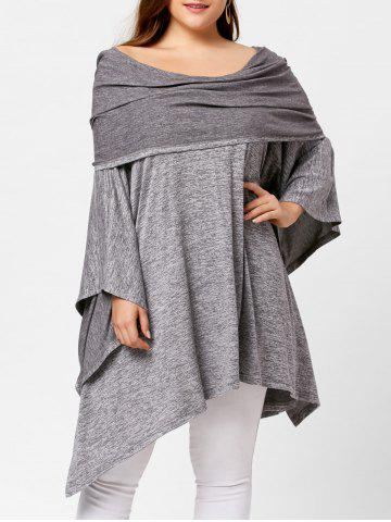 Sale Off Shoulder Plus Size Asymmetric Tunic Top GRAY ONE SIZE