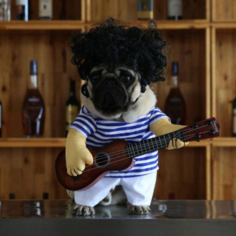 Fancy Pet Stripe Costume with Guitar Wig Jumpsuit For Dog