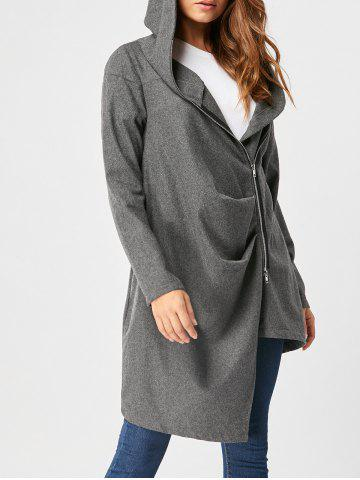Trendy Zippered Hooded High Low Coat DEEP GRAY M