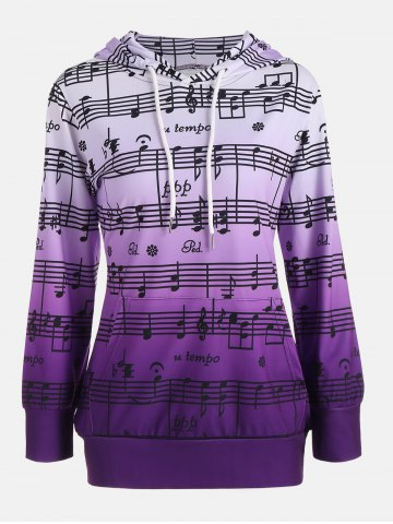 Affordable Musical Notes Print Ombre Kangaroo Hoodie - S PURPLE Mobile