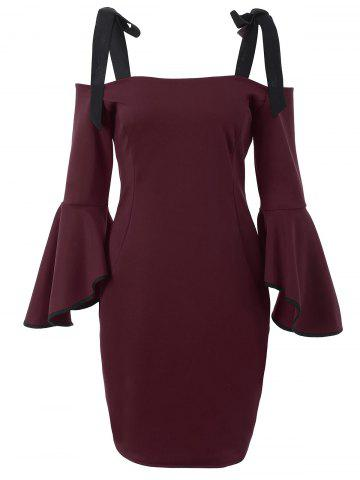 Bell Sleeve Cold Shoulder Bowknot Dress