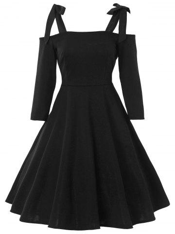 Sale Bowknot Cold Shoulder Vintage Dress