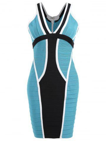 Shop Color Block V Neck Bandage Dress