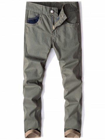 Denim Panel Straight Striped Casual Pants