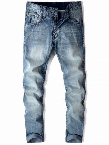 Mid Rise Zip Fly Faded Jeans