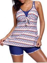 Zigzag Printed Skirted Tankini Set - COLORMIX M