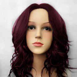Middle Part Medium Wavy Synthetic Wig - WINE RED