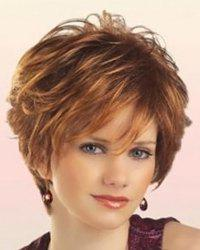 Elegant Inclined Bang Capless Fluffy Wavy Synthetic Short Mixed Color Women's Wig -