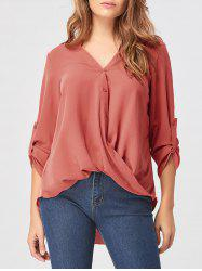 Drape Chiffon High Low Blouse - Rouge rouille 2XL