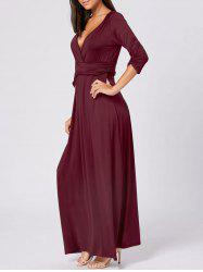 Empire Waist V Neck Long Maxi Dress - WINE RED 2XL