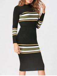 Striped Mock Neck Casual Knit Dress -