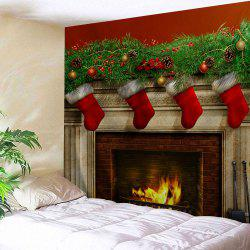 Christmas Fireplace Print Tapestry Wall Hanging Art Decoration -
