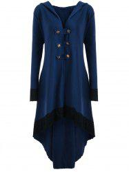 High Low Hooded Plus Size Lace-up Coat - BLUE 5XL