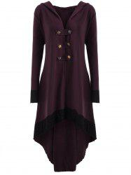 High Low Hooded Plus Size Lace-up Coat - WINE RED XL