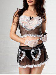 Lace Fishnet Skirted Maid Costume -
