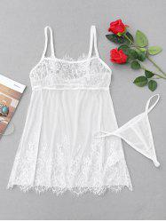 Eyelash Lace Sheer Slip Babydoll - WHITE S