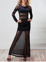 Robe manches longues à manches longues Maxi Mesh Panel -