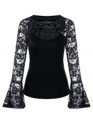 Cut Out Lace-up Flare Sleeve Lace Top - BLACK 2XL