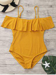 One Piece Ribbed Knit Flounce Swimsuit - GINGER M