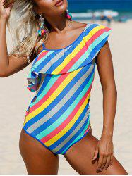 Striped Ruffle Lace Up Swimsuit - COLORMIX L
