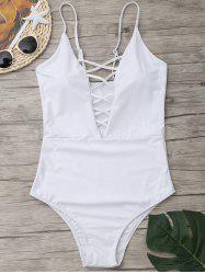 Cross Back One Piece Swimsuit - WHITE M