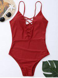 Cross Back One Piece Swimsuit - RED XL