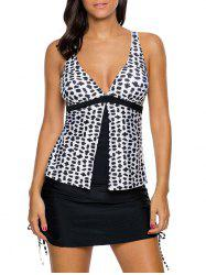 Cross Back Skirted Tankini Set - WHITE AND BLACK S