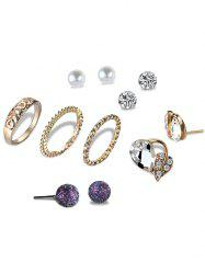 Faux Pearl Ball Leaf Earring with Ring Set - GOLDEN