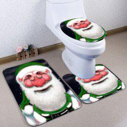 Santa Claus Flannel 3PCS Christmas Bath Rugs Set - GREEN