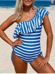 Striped Ruffle Lace Up Swimsuit - BLUE AND WHITE M
