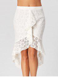 Flounce High Low Lace Skirt - Blanc XL
