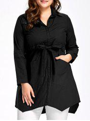 Poches Plus Size Bowknot Tunic Top -