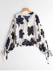Drop Shoulder Puff Sleeve Floral Print Blouse -