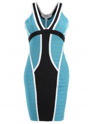Color Block V Neck Bandage Dress -