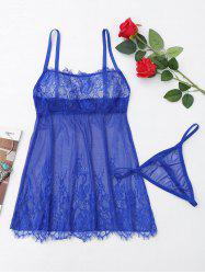 Eyelash Lace Sheer Slip Babydoll -
