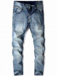 Mid Rise Zip Fly Faded Jeans -