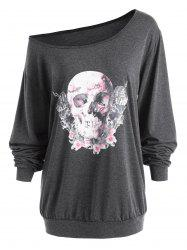 Plus Size Skew Neck Halloween Skull Rose  Tee -