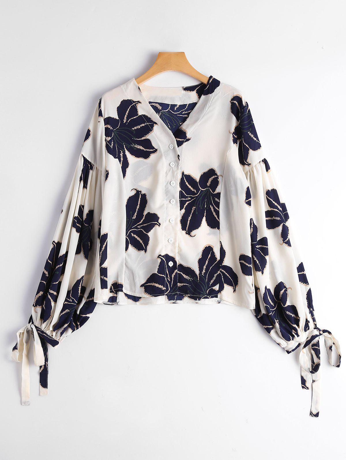 Shop Drop Shoulder Puff Sleeve Floral Print Blouse