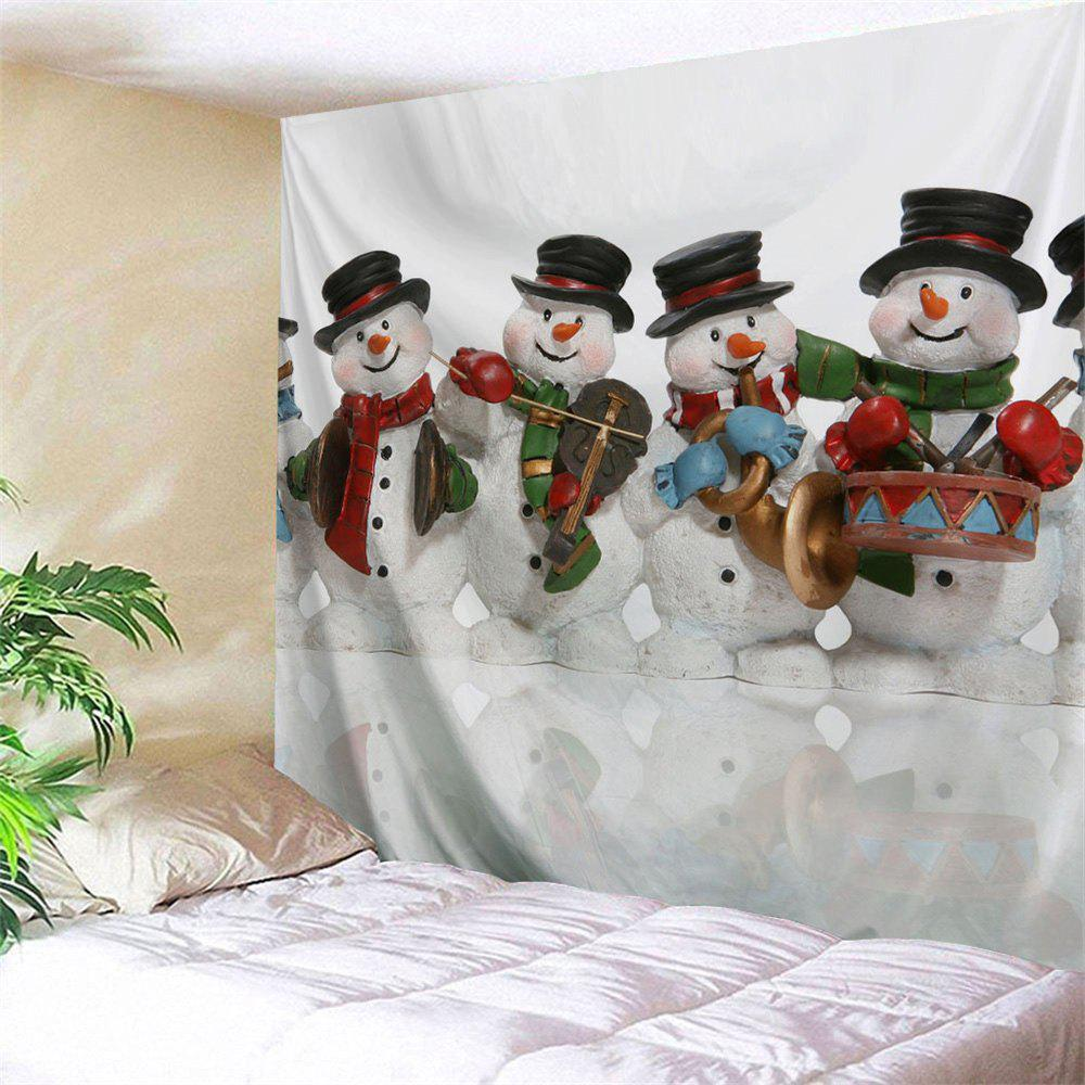 Christmas Snowman Band Wall Art TapestryHOME<br><br>Size: W59 INCH * L59 INCH; Color: WHITE; Style: Festival; Theme: Christmas; Material: Polyester; Feature: Removable,Washable; Shape/Pattern: Print; Weight: 0.2100kg; Package Contents: 1 x Tapestry;