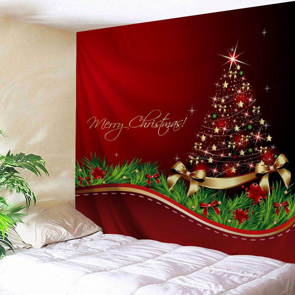 Christmas Tree Bowknot Print Tapestry Wall Hanging Art DecorationHOME<br><br>Size: W59 INCH * L51 INCH; Color: RED; Style: Festival; Theme: Christmas; Material: Polyester; Feature: Washable; Shape/Pattern: Bowknot; Weight: 0.1800kg; Package Contents: 1 x Tapestry;