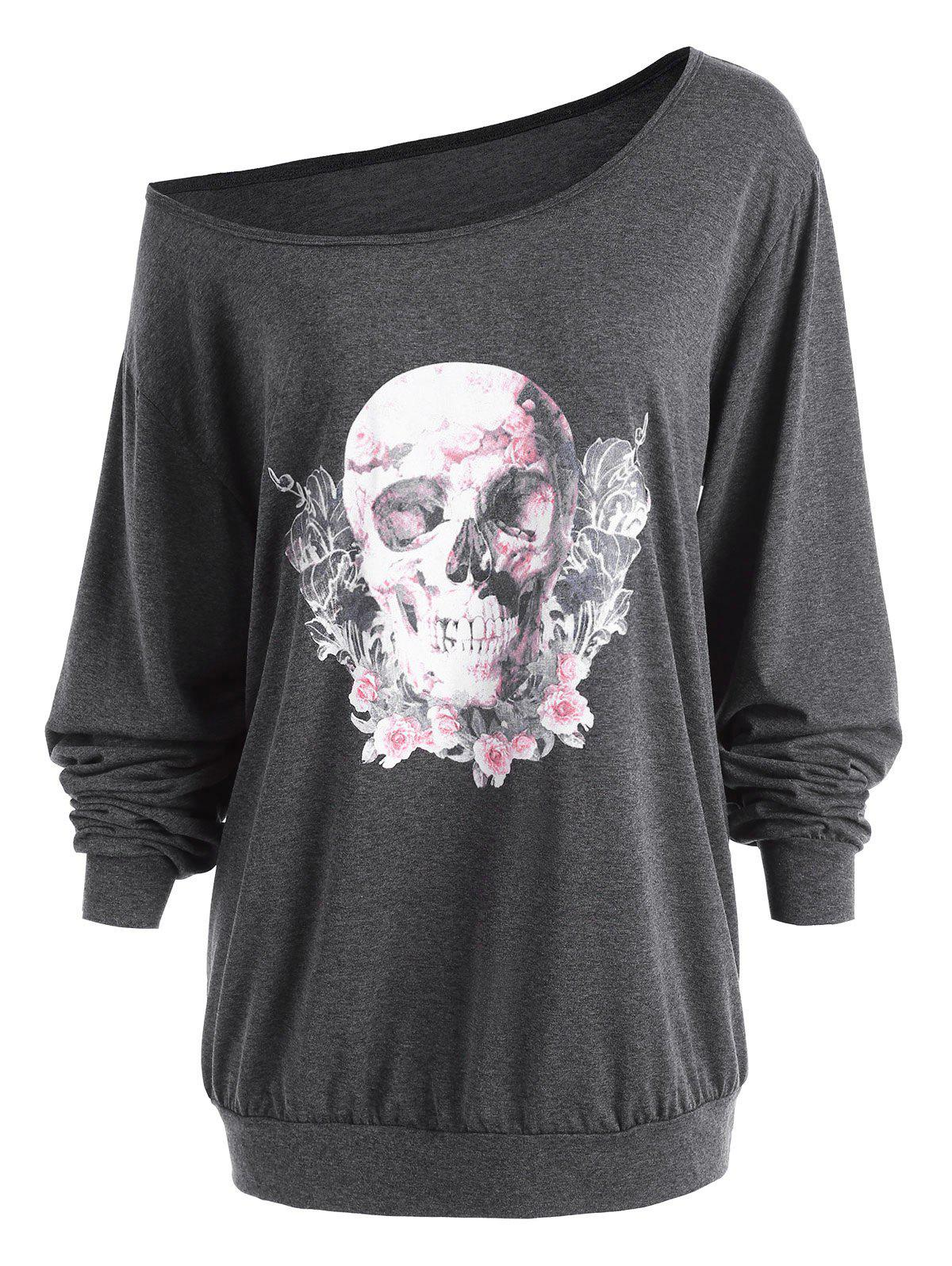 Latest Plus Size Skew Neck Halloween Skull Rose  Tee