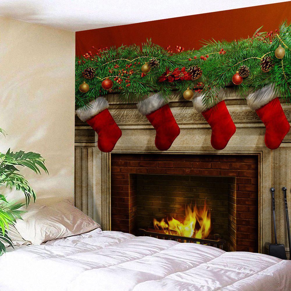 Christmas Fireplace Print Tapestry Wall Hanging Art DecorationHOME<br><br>Size: W59 INCH * L51 INCH; Color: COLORMIX; Style: Festival; Theme: Christmas; Material: Polyester; Feature: Washable; Shape/Pattern: Print; Weight: 0.1800kg; Package Contents: 1 x Tapestry;