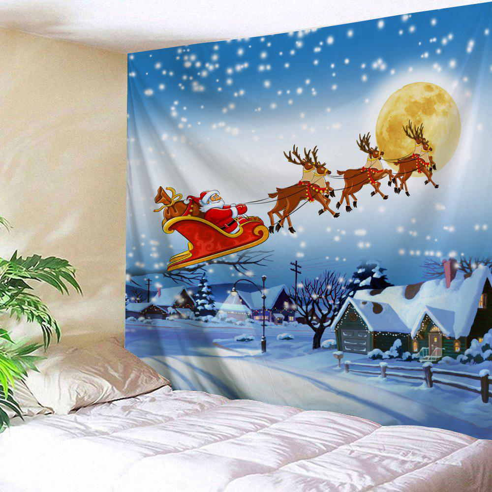 Christmas Village Print Tapestry Wall Hanging Art DecorationHOME<br><br>Size: W79 INCH * L71 INCH; Color: ICE BLUE; Style: Festival; Theme: Christmas; Material: Polyester; Feature: Washable; Shape/Pattern: Animal,Moon; Weight: 0.3200kg; Package Contents: 1 x Tapestry;