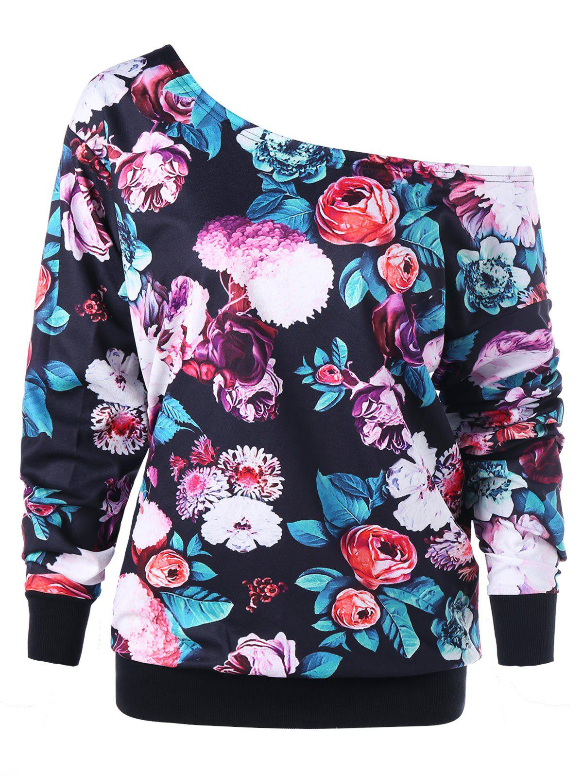 Image of Plus Size Allover Floral Skew Neck Sweatshirt