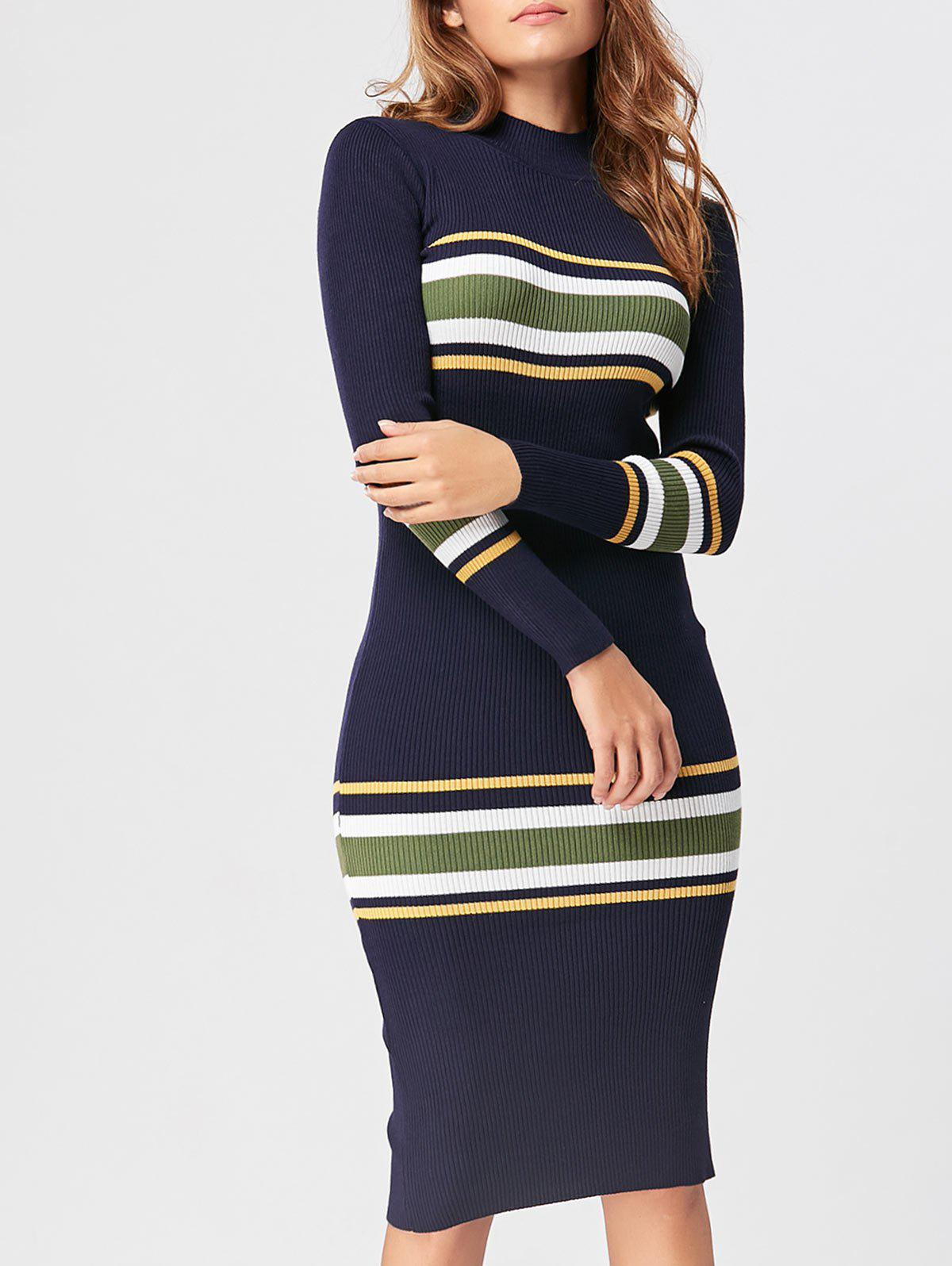 Store Striped Mock Neck Casual Knit Dress